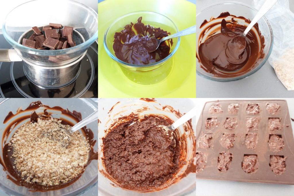 chocolats au sésame pas a pas temperage