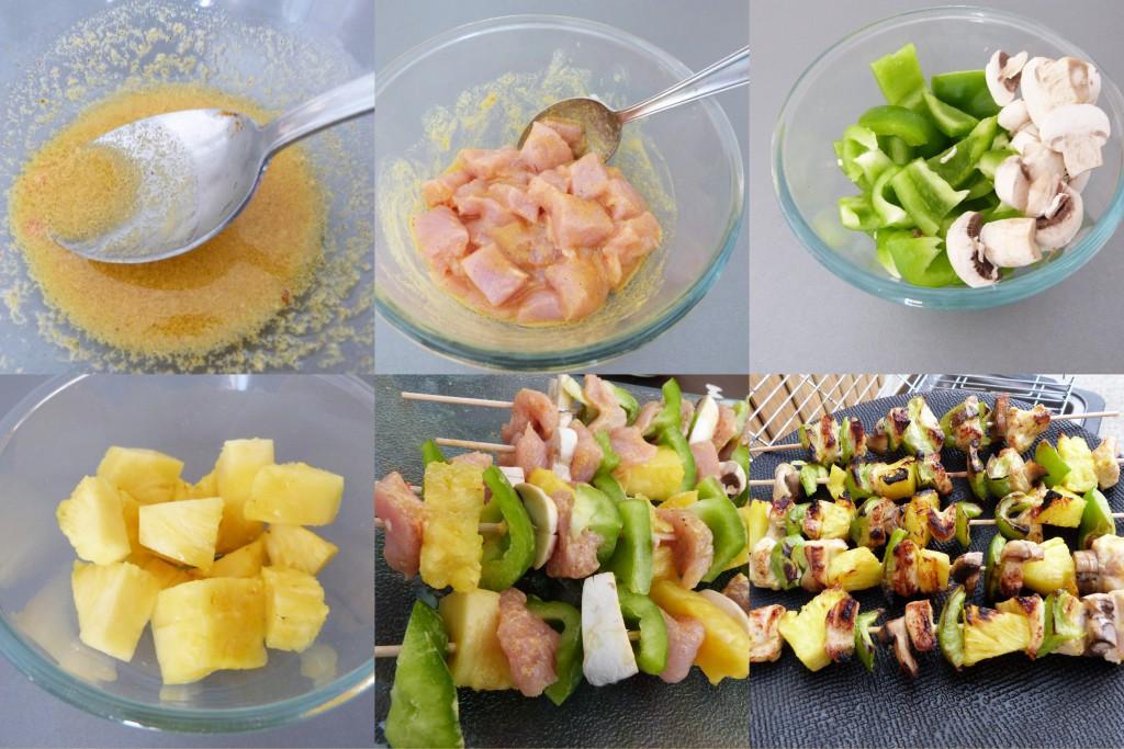 brochettes poulet ananas PAS A PAS