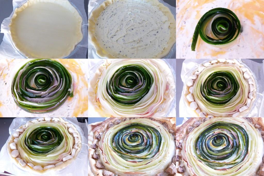 tarte rosace courgettes PAS A PAS