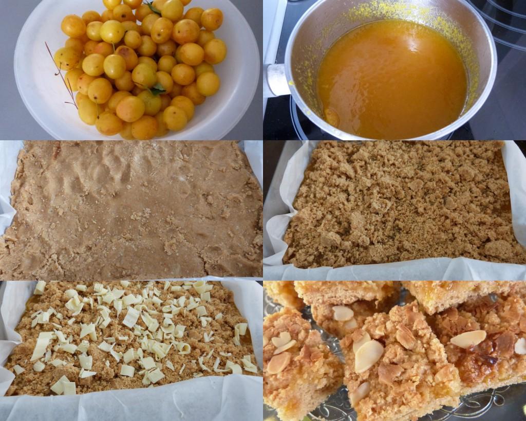 Carrés gourmands prunes jaunes choc blanc PAS A PAS