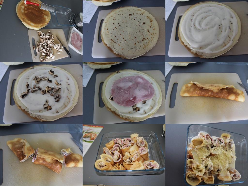 Gratin crepes jambon champignon PAS A PAS